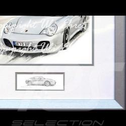 Porsche 911 type 996 Turbo blanche cadre bois alu avec esquisse noir et blanc Edition limitée Uli Ehret - 104B