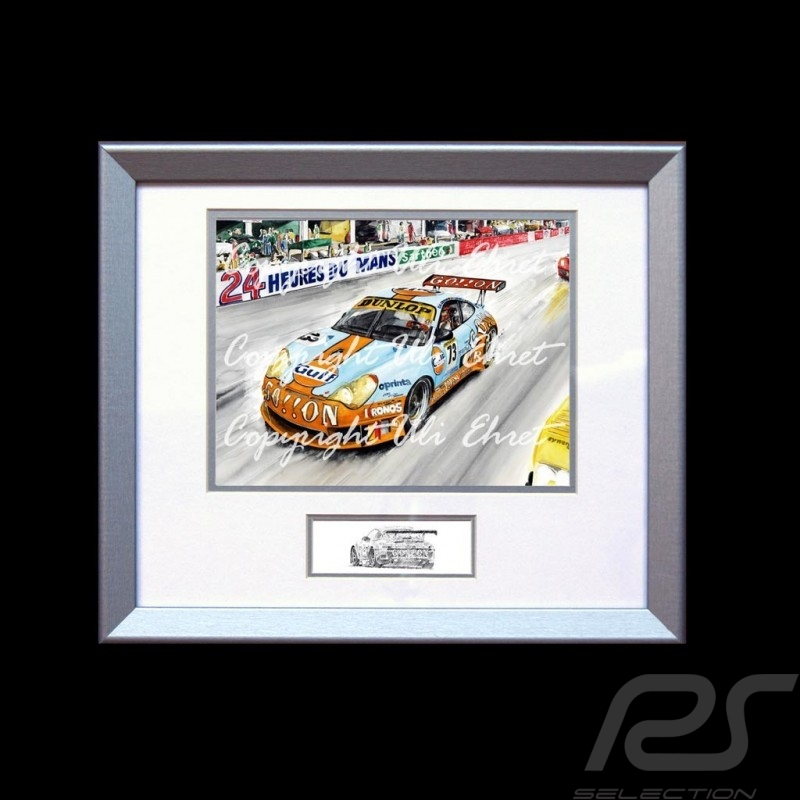Porsche 911 type 996 GT3 RSR n° 73 Gulf 24h wood frame aluminum with black and white sketch Limited edition Uli Ehret - 101