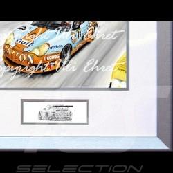 Porsche 911 type 996 GT3 RSR n° 73 Gulf 24h Aluminium Rahmen mit Schwarz-Weiß Skizze Limitierte Auflage Uli Ehret - 101