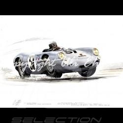 Porsche 550 Le Mans 1955 n° 37 von Frankenberg wood frame aluminum with black and white sketch Limited edition Uli Ehret - 113