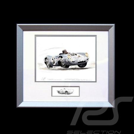 Porsche 550 Le Mans 1955 n° 37 von Frankenberg cadre bois alu avec esquisse noir et blanc Edition limitée Uli Ehret - 113