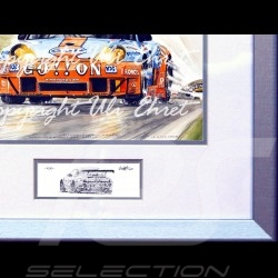 Porsche 911 type 996 GT3 RSR Gulf Ice pole wood frame aluminum with black and white sketch Limited edition Uli Ehret - 107