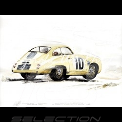 Porsche 356 Panamericana n° 10 ivory wood frame aluminum with black and white sketch Limited edition Uli Ehret - 115