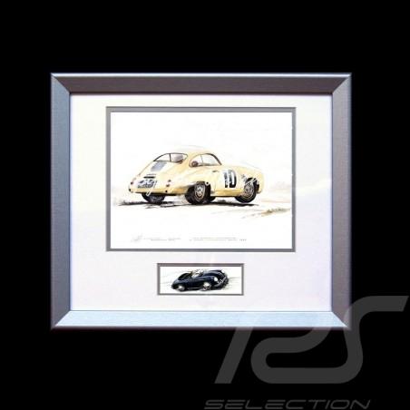 Porsche Poster 356 Panamericana n° 10 elfenbein Aluminium Rahmen mit Schwarz-Weiß Skizze Limitierte Auflage Uli Ehret - 426