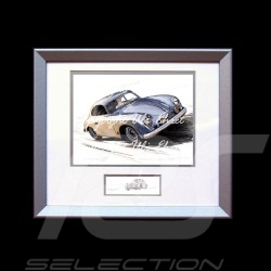 Porsche 356 Panamericana A Carrera grey wood frame aluminum with black and white sketch Limited edition Uli Ehret - 135