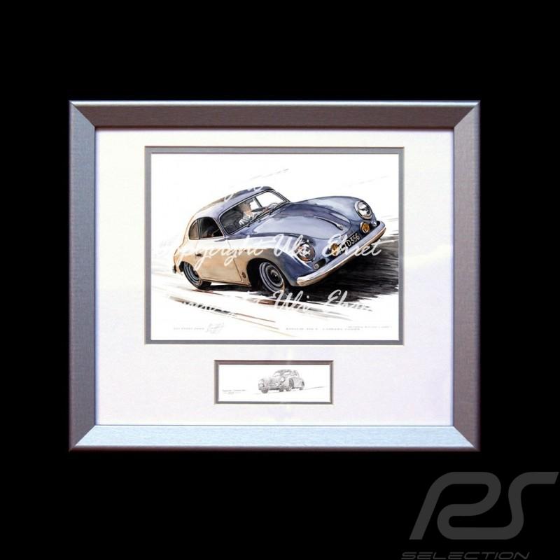 Porsche 356 A Carrera grise cadre bois alu avec esquisse noir et blanc Edition limitée Uli Ehret - 135