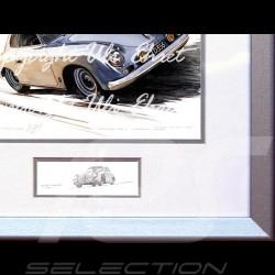 Porsche Poster 356 A Carrera grau Aluminium Rahmen mit Schwarz-Weiß Skizze Limitierte Auflage Uli Ehret - 135