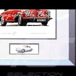 Porsche 356 C Cabriolet red wood frame aluminum with black and white sketch Limited edition Uli Ehret - 139