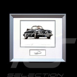 Porsche 356 C Cabriolet black wood frame aluminum with black and white sketch Limited edition Uli Ehret - 135