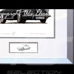 Porsche Poster 356 C Cabriolet schwarz Aluminium Rahmen mit Schwarz-Weiß Skizze Limitierte Auflage Uli Ehret - 135