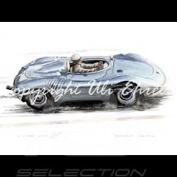 Porsche Poster 718 RSK argent Aluminium Rahmen mit Schwarz-Weiß Skizze Limitierte Auflage Uli Ehret - 136