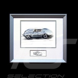 Porsche 718 RSK silver wood frame aluminum with black and white sketch Limited edition Uli Ehret - 136