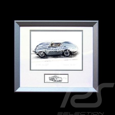 Porsche 718 RSK argent cadre bois alu avec esquisse noir et blanc Edition limitée Uli Ehret - 136