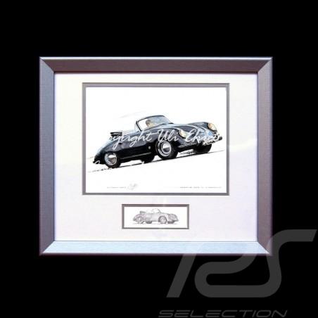 Porsche 356 A Cabriolet noir cadre bois alu avec esquisse noir et blanc Edition limitée Uli Ehret - 138