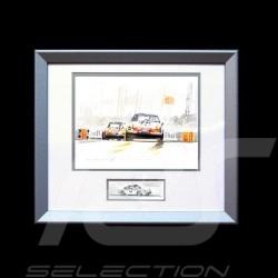 Porsche 911 Le Mans 1971 tertre rouge cadre bois alu avec esquisse noir et blanc Edition limitée Uli Ehret - 186