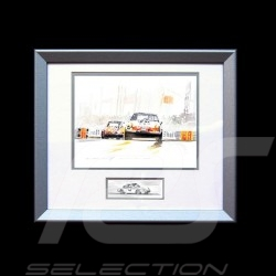 Porsche 911 Le Mans 1971 tertre rouge wood frame aluminum with black and white sketch Limited edition Uli Ehret - 186