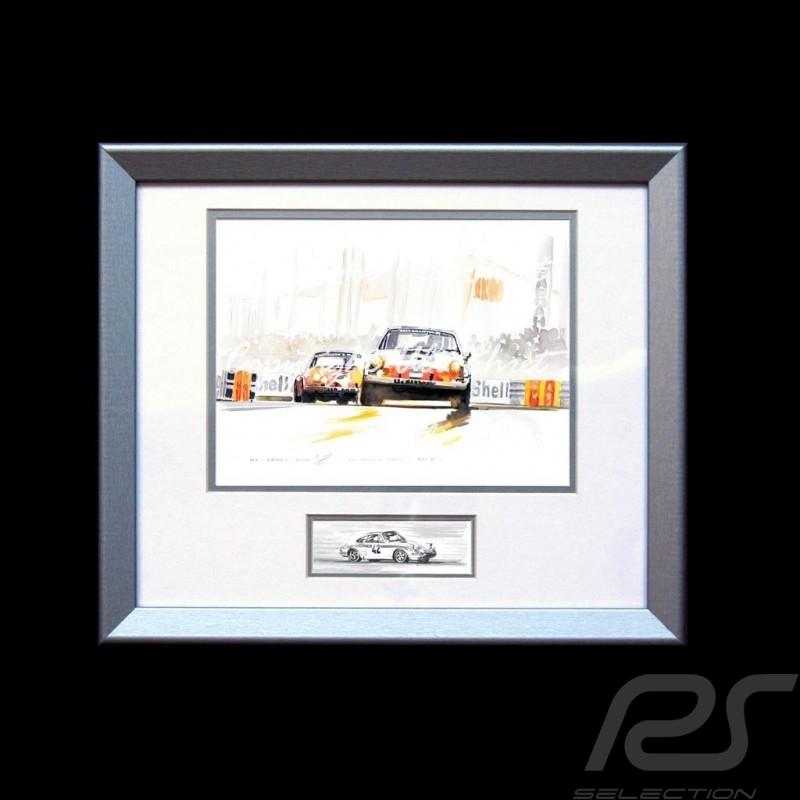 Porsche Poster 911 Le Mans 1971 tertre rouge Aluminium Rahmen mit Schwarz-Weiß Skizze Limitierte Auflage Uli Ehret - 186