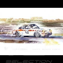 Porsche 911 Le Mans 1971 n° 42 cadre bois alu avec esquisse noir et blanc Edition limitée Uli Ehret - 185
