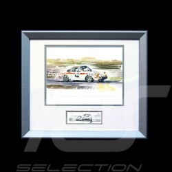 Porsche 911 Le Mans 1971 n° 42 wood frame aluminum with black and white sketch Limited edition Uli Ehret - 185