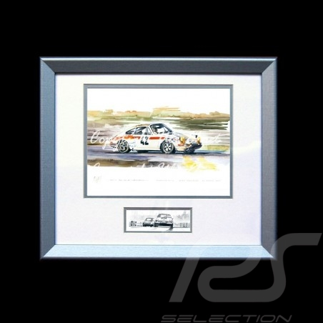Porsche Poster 911 Le Mans 1971 n° 42 Aluminium Rahmen mit Schwarz-Weiß Skizze Limitierte Auflage Uli Ehret - 185