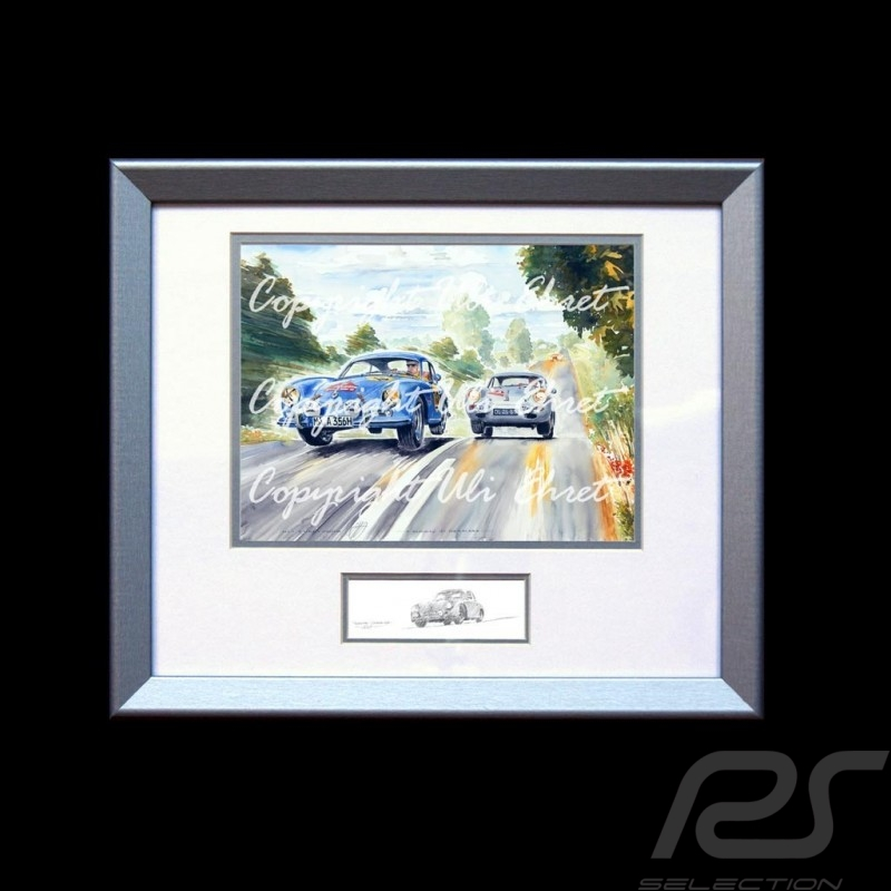 Porsche 356 Duo race Danemark wood frame aluminum with black and white sketch Limited edition Uli Ehret - 187