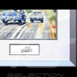 Porsche Poster 356 Duo Rennen Danemark Aluminium Rahmen mit Schwarz-Weiß Skizze Limitierte Auflage Uli Ehret - 187