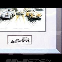 Porsche Poster 356 Trio Stuttgart Le Mans Aluminium Rahmen mit Schwarz-Weiß Skizze Limitierte Auflage Uli Ehret - 199
