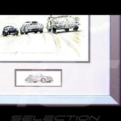 Porsche Poster 356 / 904 Trio Stuttgart 2008 Aluminium Rahmen mit Schwarz-Weiß Skizze Limitierte Auflage Uli Ehret - 196
