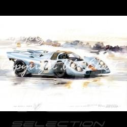 Porsche 917 K n° 2 vainqueur Daytona 1971 cadre bois alu avec esquisse noir et blanc Edition limitée Uli Ehret - 238