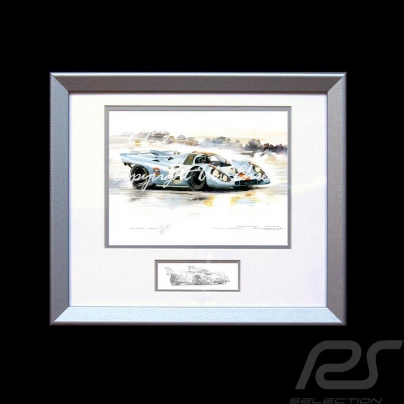 Porsche 917 K n° 2 Sieger Daytona 1971 Aluminium Rahmen mit Schwarz-Weiß Skizze Limitierte Auflage Uli Ehret - 238