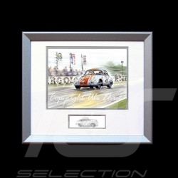 Porsche 356 n° 21 bleu bandes oranges cadre bois alu avec esquisse noir et blanc Edition limitée Uli Ehret - 262