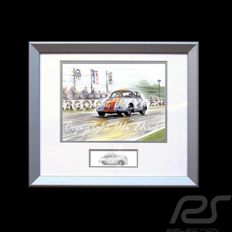 Porsche Poster 356 n° 21 blau orange Streifen Aluminium Rahmen mit Schwarz-Weiß Skizze Limitierte Auflage Uli Ehret - 262