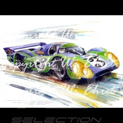 Porsche 917 LH n° 3 Le Mans 1970 psychedelic wood frame aluminum with black and white sketch Limited edition Uli Ehret - 275