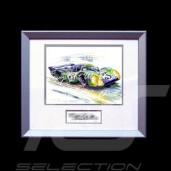 Porsche 917 LH n° 3 Le Mans 1970 psychedelic Aluminium Rahmen mit Schwarz-Weiß Skizze Limitierte Auflage Uli Ehret - 275