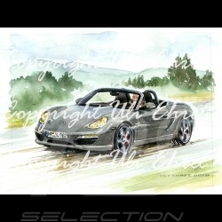Porsche Boxster 987 grey wood frame aluminum with black and white sketch Limited edition Uli Ehret - 308
