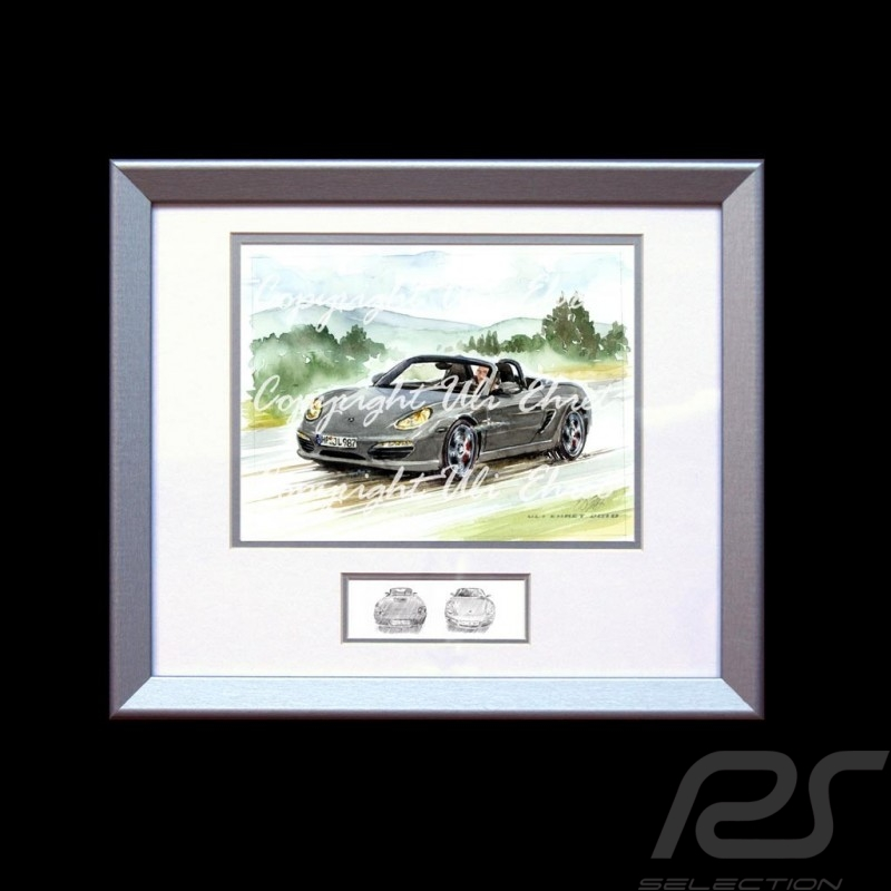 Porsche Boxster 987 grau Aluminium Rahmen mit Schwarz-Weiß Skizze Limitierte Auflage Uli Ehret - 308