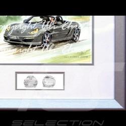 Porsche Boxster 987 grey cadre bois alu avec esquisse noir et blanc Edition limitée Uli Ehret - 308