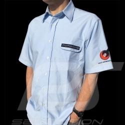 Chemise Porsche 356 manches courtes bleu ciel homme Shirt short sleeves men Hemd Kurzarmhemd Herren
