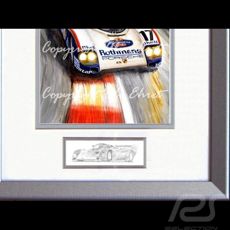 Porsche 962 C vainqueur Le Mans 1987 cadre bois alu avec esquisse noir et blanc Edition limitée Uli Ehret - 198