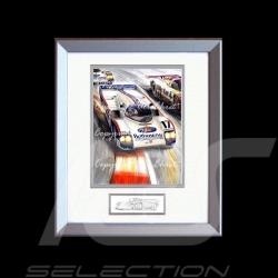 Porsche Poster 962 C Sieger Le Mans 1987 Aluminium Rahmen mit Schwarz-Weiß Skizze Limitierte Auflage Uli Ehret - 198