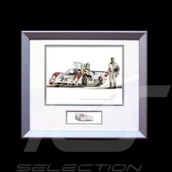 Porsche 917 LH n° 25 Le Mans 1970 Elford Aluminium Rahmen mit Schwarz-Weiß Skizze Limitierte Auflage Uli Ehret - 216