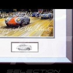 Porsche Poster 356 Coupé und Cabriolet im nacht Aluminium Rahmen mit Schwarz-Weiß Skizze Limitierte Auflage Uli Ehret - 261