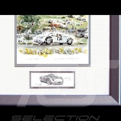 Porsche 718 RS 61 Targa Forio Moss Hill wood frame aluminum with black and white sketch Limited edition Uli Ehret - 136