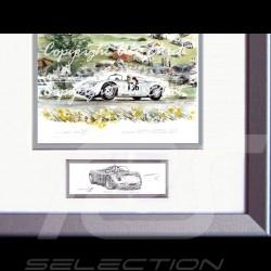 Porsche Poster 718 RS 61 Targa Forio Moss Hill Aluminium Rahmen mit Schwarz-Weiß Skizze Limitierte Auflage Uli Ehret - 136