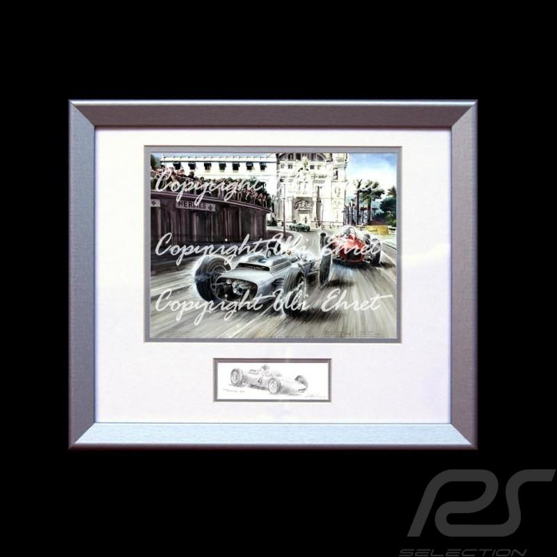 Porsche Poster 804 Monaco 1962 n° 4 Dan Gurney Aluminium Rahmen mit Schwarz-Weiß Skizze Limitierte Auflage Uli Ehret - 357