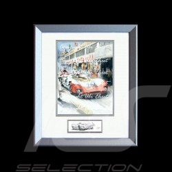 Porsche 908 /02 winner Targa Florio 1969 n° 266 wood frame aluminum with black and white sketch Limited edition Uli Ehret - 427