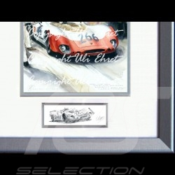 Porsche 908 /03 winner Targa Florio 1970 n° 12 wood frame aluminum with black and white sketch Limited edition Uli Ehret - 371