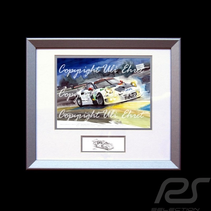 Porsche 911 type 991 RSR Le Mans Mulsanne n° 91 wood frame aluminum with black and white sketch Limited edition Uli Ehret - 263