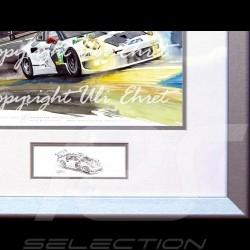 Porsche 911 typ 991 RSR Le Mans Mulsanne n° 91Aluminium Rahmen mit Schwarz-Weiß Skizze Limitierte Auflage Uli Ehret - 263