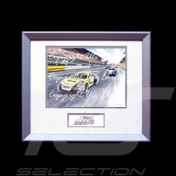 Porsche 911 GT3 Cup type 991 wood frame aluminum with black and white sketch Limited edition Uli Ehret - 628